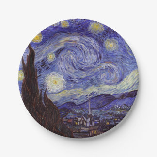 Vincent Van Gogh Starry Night Vintage Fine Art Paper Plate