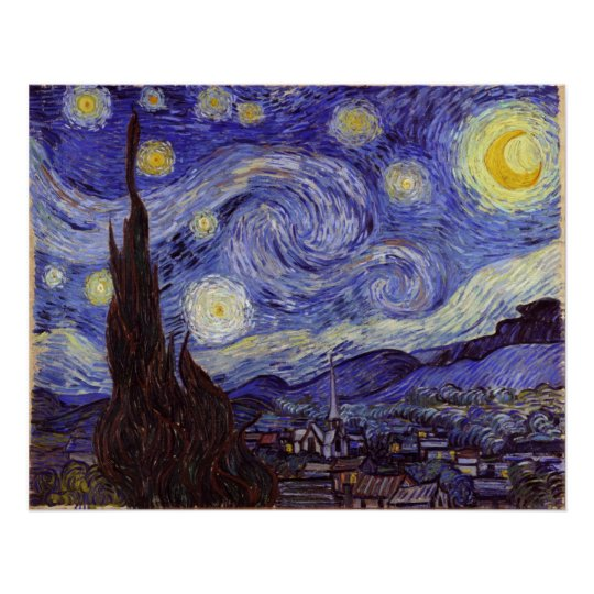Vincent Van Gogh Starry Night Vintage Fine Art Poster