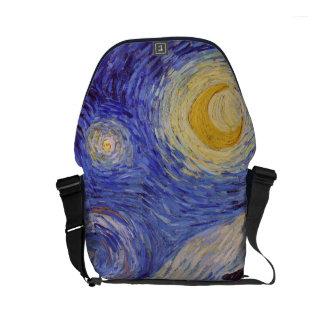 Vincent Van Gogh Starry Night Vintage Fine Art Small Messenger Bag