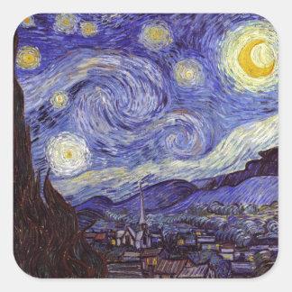 Vincent Van Gogh Starry Night Vintage Fine Art Square Stickers