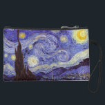 "Vincent Van Gogh Starry Night Vintage Fine Art Suede Wristlet Wallet<br><div class=""desc"">Vincent van Gogh Starry Night Fine Art Painting Starry Night is a painting by Dutch post-impressionist artist Vincent van Gogh. The blue night sky is filled with swirling clouds, stars, and a bright crescent moon. The Starry Night is the only nocturne in the series of views from his bedroom window....</div>"