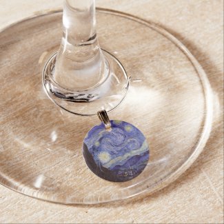 Vincent Van Gogh Starry Night Wine Charms