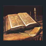 """Vincent Van Gogh - Still Life With Bible Canvas Print<br><div class=""""desc"""">This oil on canvas from 1885 depicts the Bible that belonged to his father who was a a pastor of the Dutch Reformed Church in the Netherlands. The Bible is open to Isaiah 53 which describes a servant of God as &quot;a man of sorrows and acquainted with grief . ....</div>"""