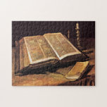 """Vincent Van Gogh - Still Life With Bible Jigsaw Puzzle<br><div class=""""desc"""">This oil on canvas from 1885 depicts the Bible that belonged to his father who was a a pastor of the Dutch Reformed Church in the Netherlands. The Bible is open to Isaiah 53 which describes a servant of God as &quot;a man of sorrows and acquainted with grief . ....</div>"""