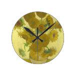Vincent van Gogh Sunflowers 1888 Flowers Painting Round Wall Clocks