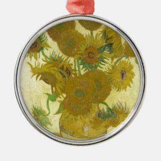 Vincent van Gogh sunflowers vase flowers art Metal Ornament