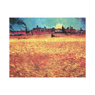 Vincent Van Gogh - Sunset On Wheat Fields Fine Art Canvas Print