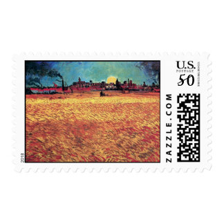 Vincent Van Gogh - Sunset On Wheat Fields Fine Art Postage