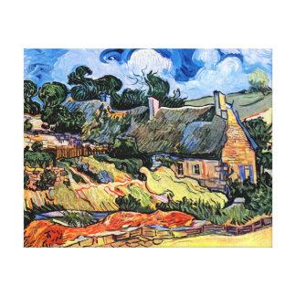 Vincent Van Gogh - Thatched Cottages At Cordeville Canvas Print