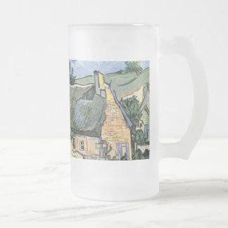 Vincent van Gogh - Thatched Cottages at Cordeville 16 Oz Frosted Glass Beer Mug