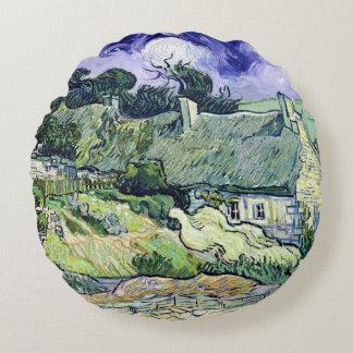 Vincent van Gogh | Thatched cottages at Cordeville Round Pillow