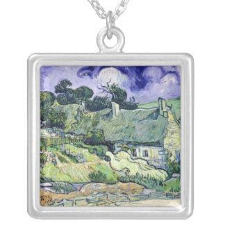 Vincent van Gogh | Thatched cottages at Cordeville Square Pendant Necklace