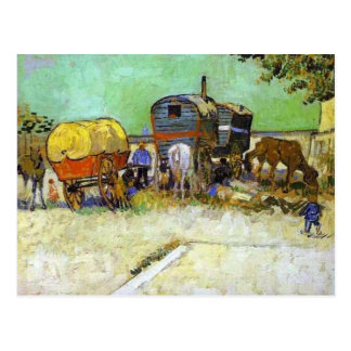 vincent van gogh- the caravans - gypsy camp near a postcard