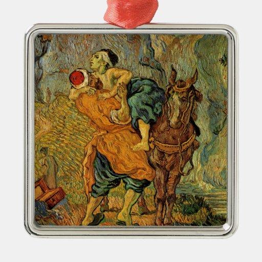 Vincent Van Gogh - The Good Samaritan Square Metal Christmas Ornament