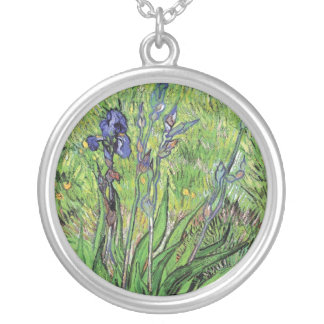 Vincent Van Gogh - The Iris Nature Lover Fine Art Silver Plated Necklace