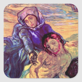 Vincent Van Gogh - The Pieta - Jesus & Virgin Mary Square Sticker
