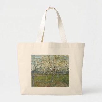 Vincent Van Gogh The Pink Orchard -Floral Painting Large Tote Bag