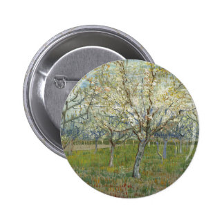 Vincent Van Gogh The Pink Orchard -Floral Painting Pinback Button