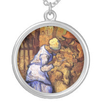 Vincent Van Gogh - The Sheep Shearers - Fine Art Silver Plated Necklace