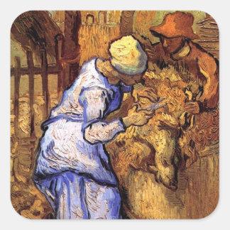 Vincent Van Gogh - The Sheep Shearers - Fine Art Square Sticker