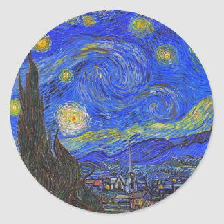 Vincent van Gogh - The Starry Night (1889) Classic Round Sticker