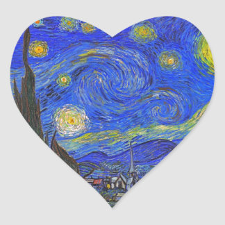 Vincent van Gogh - The Starry Night (1889) Heart Sticker