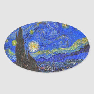 Vincent van Gogh - The Starry Night (1889) Oval Sticker