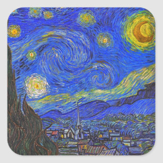 Vincent van Gogh - The Starry Night (1889) Square Sticker