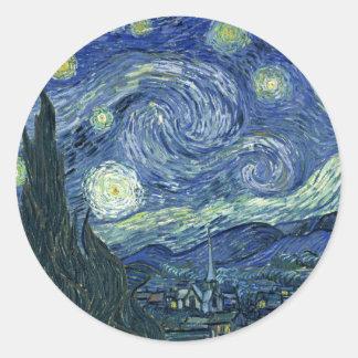 Vincent Van Gogh The Starry Night Classic Round Sticker
