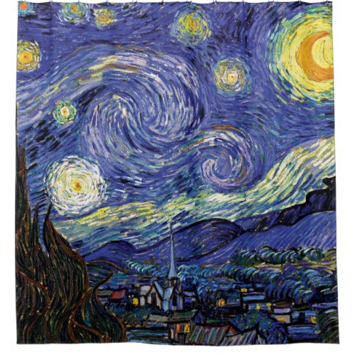 Vincent Van Gogh - The Starry Night Fine Art Shower Curtain