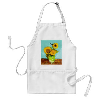 Vincent Van Gogh Three Sunflowers In A Vase Adult Apron