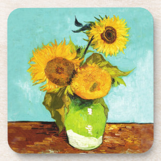 Vincent Van Gogh Three Sunflowers In A Vase Coaster