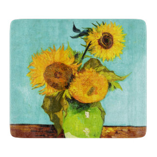 Vincent Van Gogh Three Sunflowers In A Vase Cutting Board