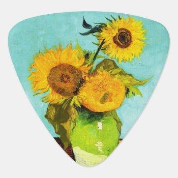 Vincent Van Gogh Three Sunflowers In A Vase Guitar Pick by artfoxx at Zazzle