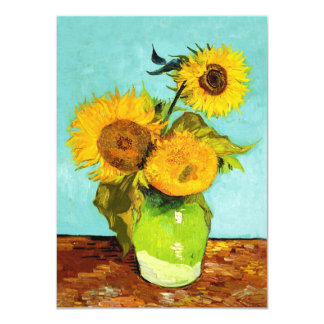 Vincent Van Gogh Three Sunflowers In A Vase 4.5x6.25 Paper Invitation Card