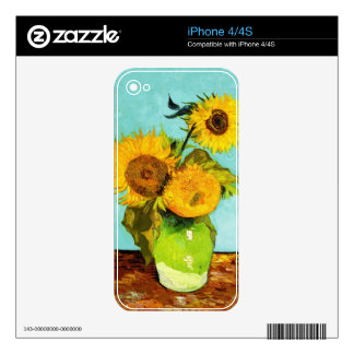 Vincent Van Gogh Three Sunflowers In A Vase Decals For The iPhone 4S