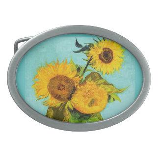 Vincent Van Gogh Three Sunflowers Oval Belt Buckle