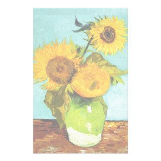 Vincent Van Gogh Three Sunflowers Stationery