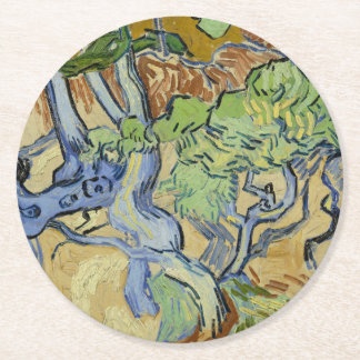 Vincent van Gogh - Tree roots Round Paper Coaster