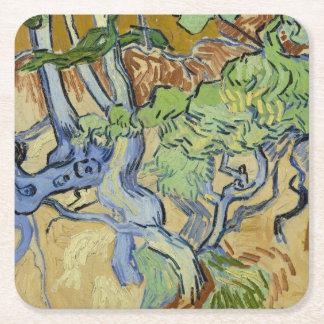 Vincent van Gogh - Tree roots Square Paper Coaster