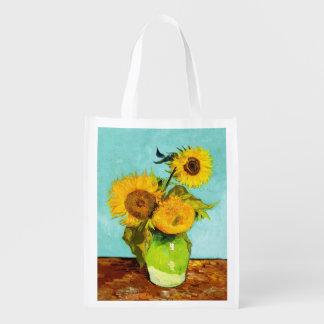 Vincent van Gogh tres girasoles en un florero Bolsa Reutilizable