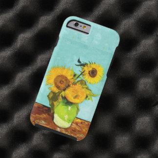Vincent van Gogh tres girasoles en un florero Funda Para iPhone 6 Tough