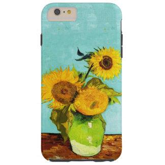 Vincent van Gogh tres girasoles en un florero Funda De iPhone 6 Plus Tough