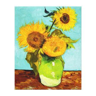 Vincent van Gogh tres girasoles en un florero Lienzo Envuelto Para Galerias