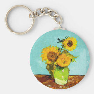 Vincent van Gogh tres girasoles en un florero Llavero Redondo Tipo Pin