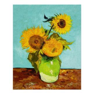 Vincent van Gogh tres girasoles en un florero Perfect Poster