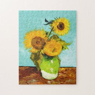 Vincent van Gogh tres girasoles en un florero Rompecabeza Con Fotos