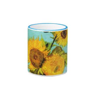Vincent van Gogh tres girasoles en un florero Taza De Dos Colores