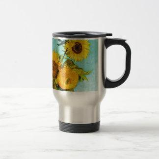 Vincent van Gogh tres girasoles en un florero Taza De Viaje