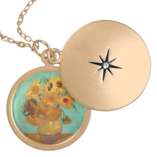 Vincent Van Gogh Twelve Sunflowers In A Vase Gold Plated Necklace